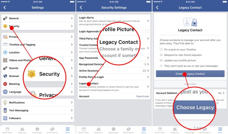 how to add a legacy contact to facebook