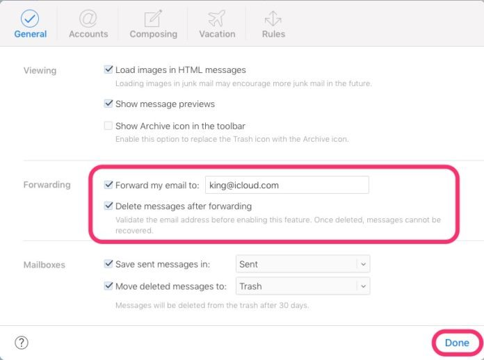 Validating mailboxes mac