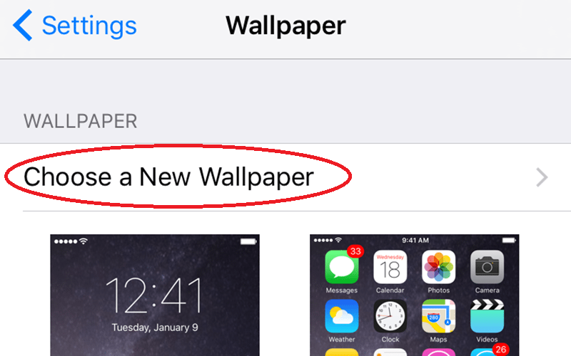 "Open settings and select Wallpaper. From there, tap on ""Choose a New Wallpaper."""